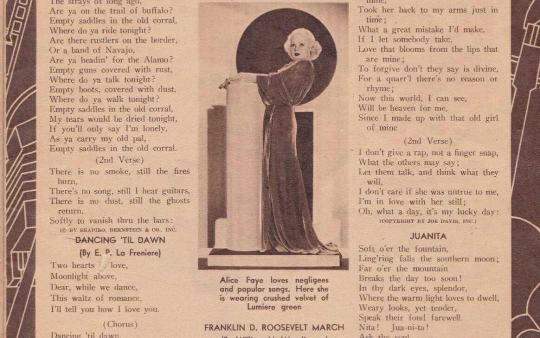 Lyrics to popular 1930s songs