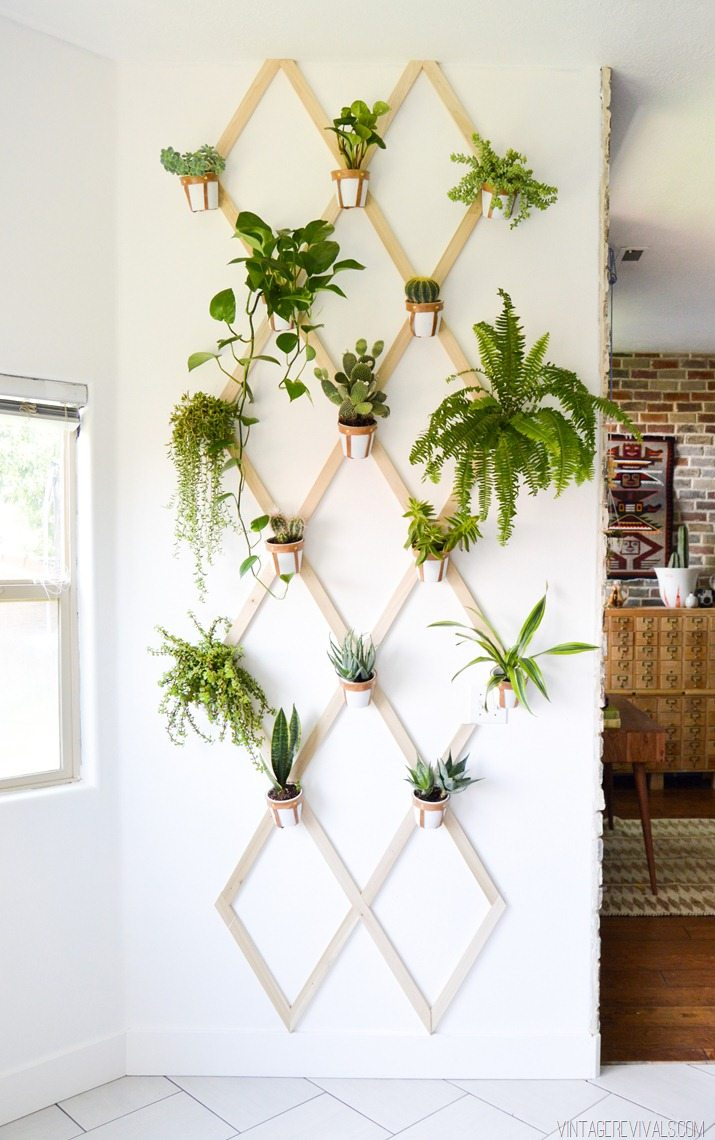 DIY Wood and Leather Trellis Plant Wall - Vintage Revivals on Wall Sconces For Greenery Decoration id=84651