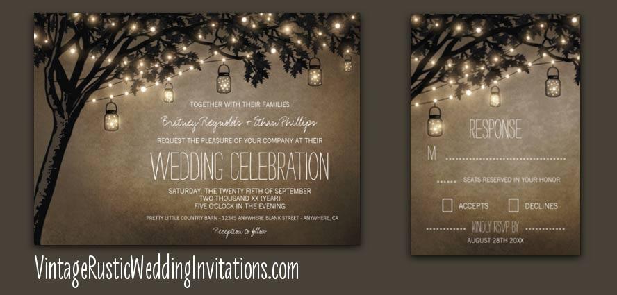 Tree Wedding Invitations Vintage Rustic Wedding Invitations