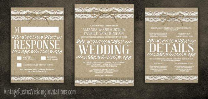 Burlap Look Wedding Invitations Scroll Down