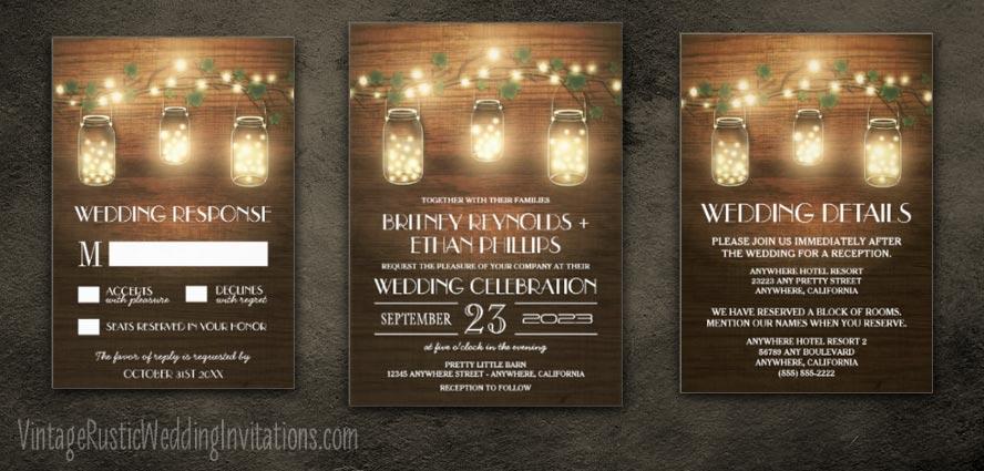 Mason Jar Wedding Invitations Vintage Rustic Wedding