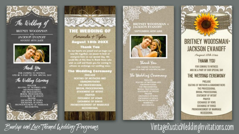 Burlap And Lace Wedding Ceremony Programs