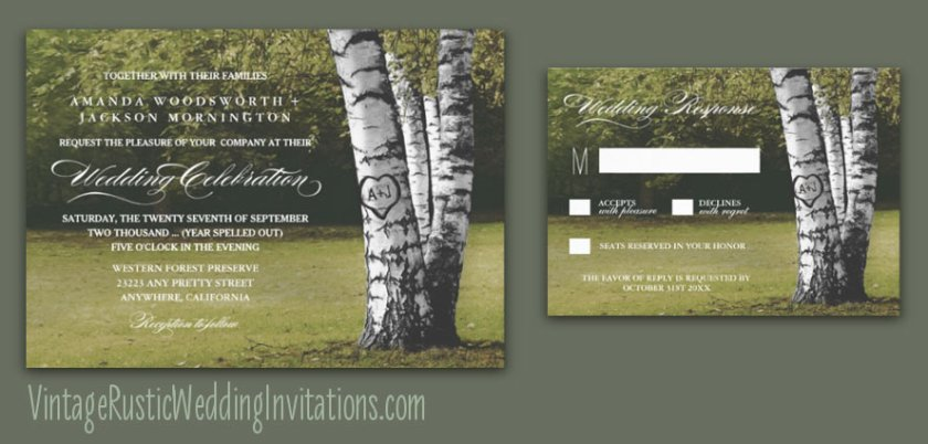 Carved Initials Heart Grove Of Birch Tree Wedding Invitations