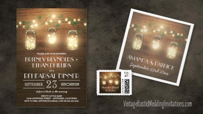 Mason Jar And Fireflies Wedding Invitation