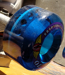 not so vintage blue Kryptonics skateboard wheels
