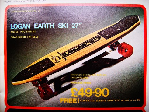 Logan Earth Ski classic oak skateboard deck | VintageSkateboard.net