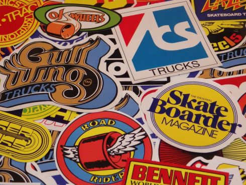 Nostalgic 1970s skateboard stickers