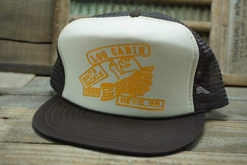 Vintage LOG CABIN 1989 Nevis MNMesh Snapback Trucker Hat Cap