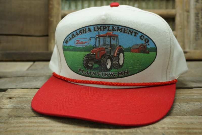 Vintage WABASHA IMPLEMENT CO Snapback Trucker Hat Cap