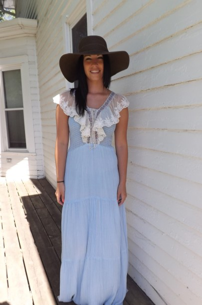 Vicky Vaughn Smocked 70s Vintage Maxi Dress