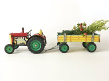 Metal Toy Tractor & Trailer