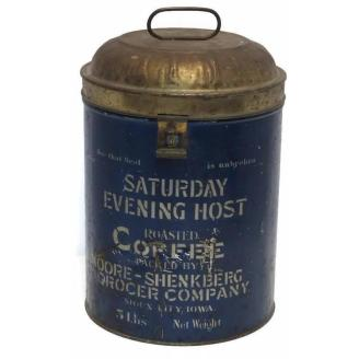 Saturday Evening Host commercial store tin