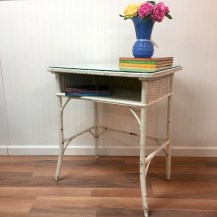 White wicker desk