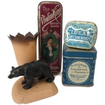 Vintage celluloid toothpick holder & 3 tins