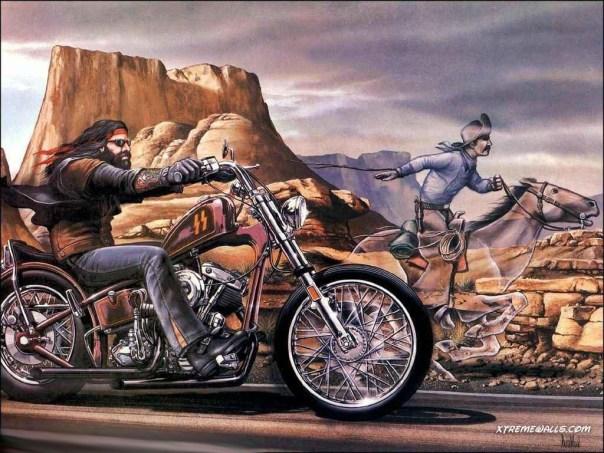 Harley Davidson Motorycles and Cowboy on Horse