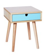 Wooden Side Table with Blue Drawer, HomeSense, £49.99