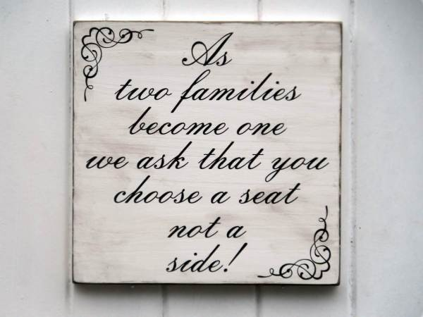 'Choose A Seat Not A Side' wooden sign via arkwoodsigns