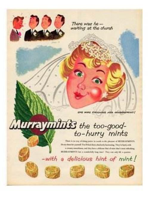 Wedding memories - Vintage wedding adverts we love Murray Mints via the National Vintage Wedding Fair blog