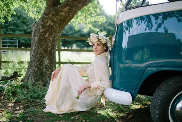 1970s vintage wedding dress and VW camper vanby the National Vintage Wedding Fair