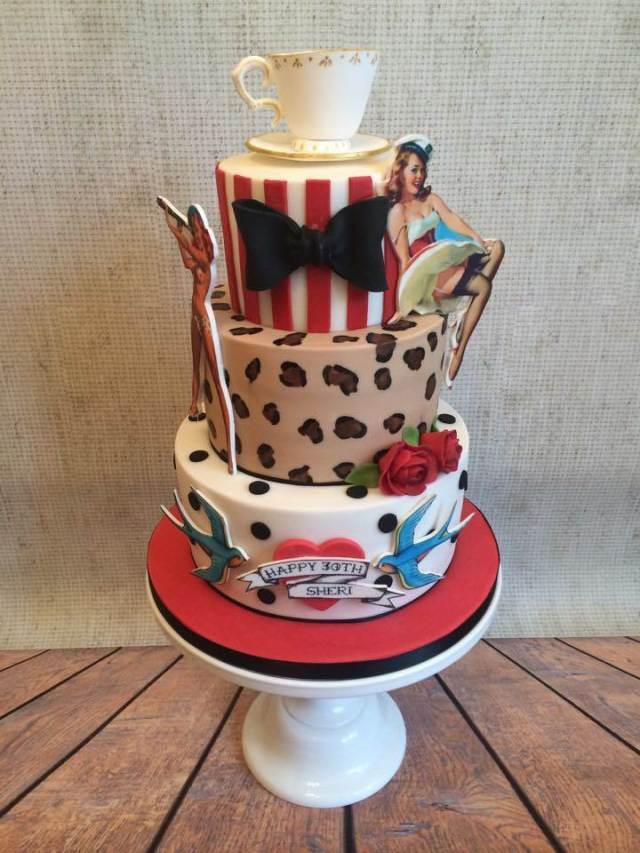 Rockabilly vintage wedding cake by Little Button Bakery at the National Vintage Wedding Fair