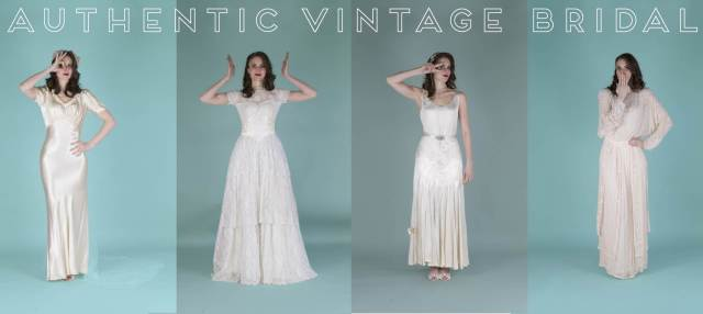 Vintage wedding dresses from Authentic Vintage Bridal at the National Vintage Wedding Fair