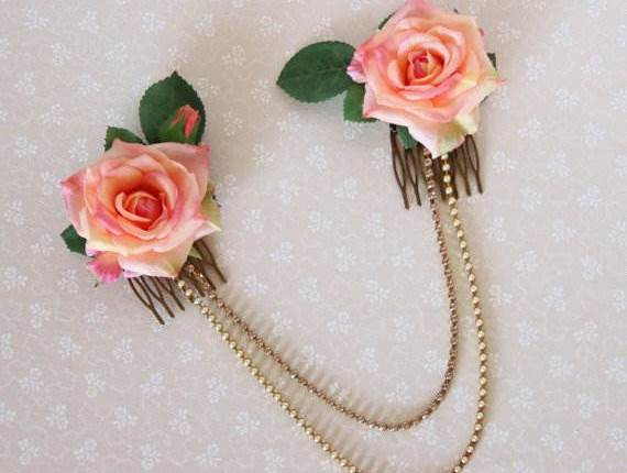 Etsy vintage style flower wedding bridal hair piece as seen in the Unique Bride Journal