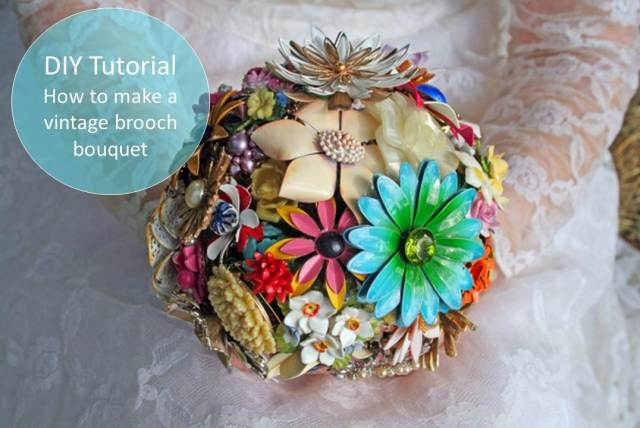 DIY Tutorial how to make a brooch vintage bouquet as featured on The National Vintage Wedding Fair blog