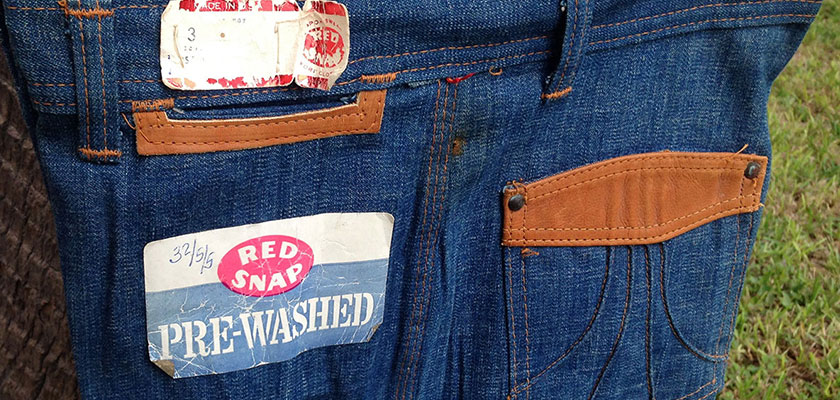 Red Snap Lined Leather 70s Vintage HUGE Denim Bell Bottom Jeans