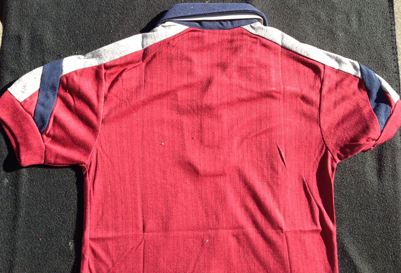 Fantastic Kennington 70s Vintage Terry Cloth Blue Collar Red Short Sleeve Shirt PX46