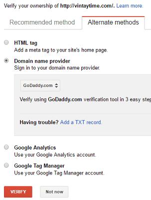 verification method search console