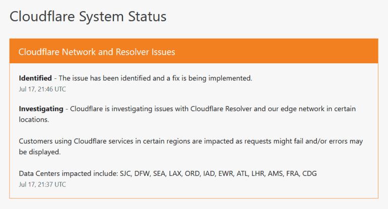cloudflare status update