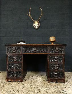 Fabulous Antique Partners Desk Gothic Green Man Walnut Victorian 19th Century