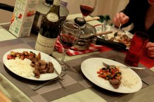 dinner with lamb and red wine