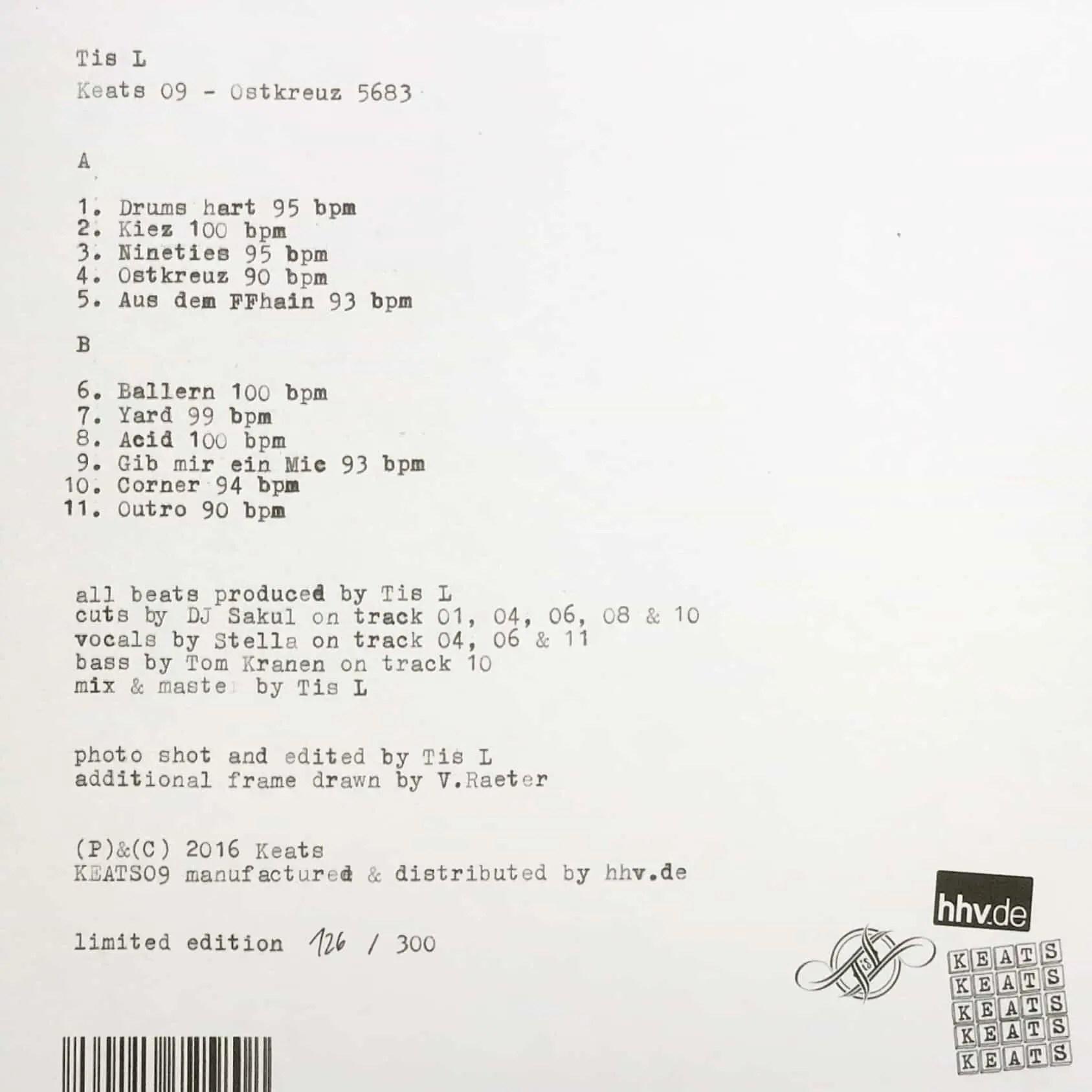 Tis L - Keats 09 - Ostkreuz 5683 - Vinyl Back