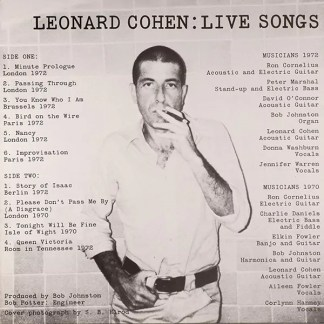 Leonard Cohen - Live Songs (LP, Album, RE)