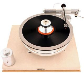 The Cartridge Man Conductor Air Bearing Tonearm on a Scheu Premier DL 2 turntable