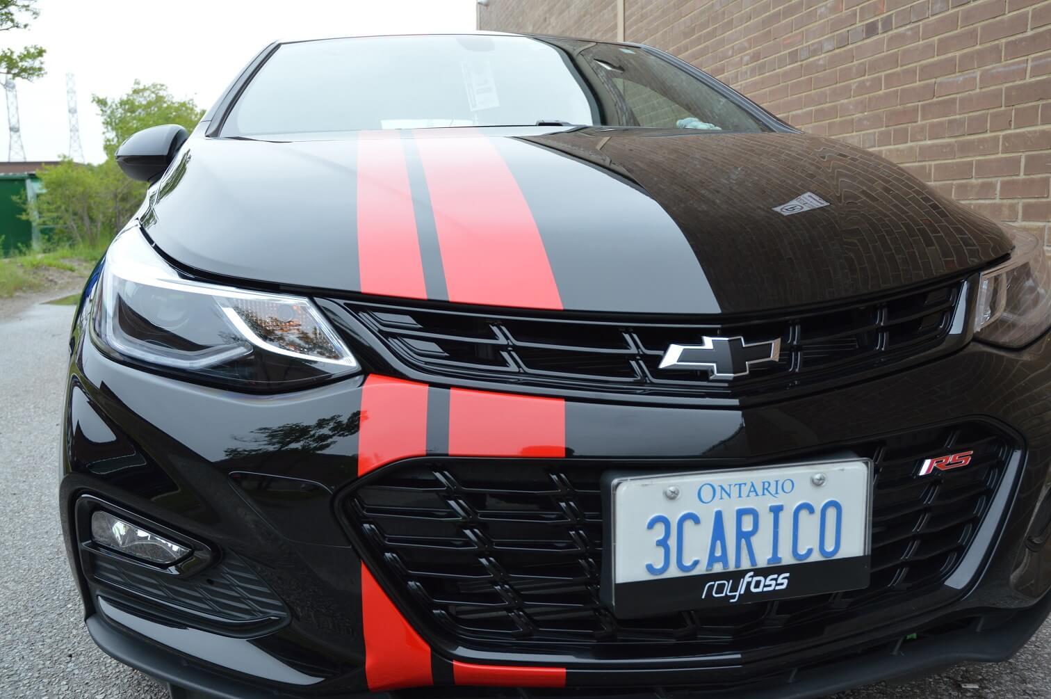 Red racing stripes | Car Wrap Toronto, Front View - Vinyl Wrap Toronto