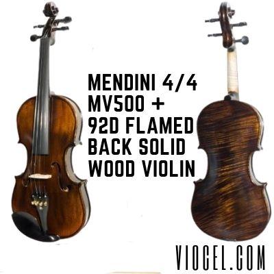Mendini 4/4 MV500 + 92D Flamed Back Solid Wood Violin