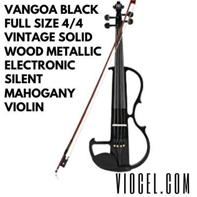 Vangoa Black Full Size 44 Vintage Solid Wood Metallic Electronic Silent Mahogany Violin