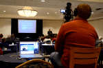 One of BizVision's videographers filming a medical continuing education seminar.