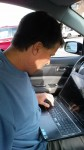 Reception of WiFi was extremely poor inside the car. Had to move the lap-top outside the car for adequate reception.