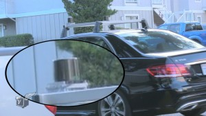 The prototype LiDAR on top of a ski rack on a Mercedes.