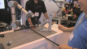 Training a Universal Robot with a wand - no computer programmer required.