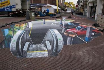 Amazing-3D-Sidewalk-Chalk-Art-Underground-Parking