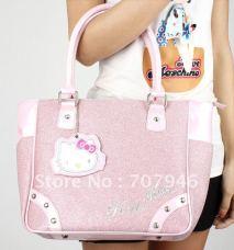 Free-Shipping-Retail-Pink-hellokitty-KT-w-mirror-women-tote-shoulder-bag-handbag