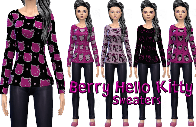 Berry Hello Kitty Sweaters 5 patterns