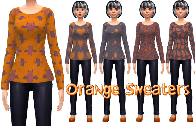 Orange Sweater Fall Collection in 5 Patterns
