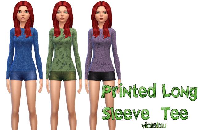 Printed Long Sleeve Tee, Fall Patterns, 3 colors