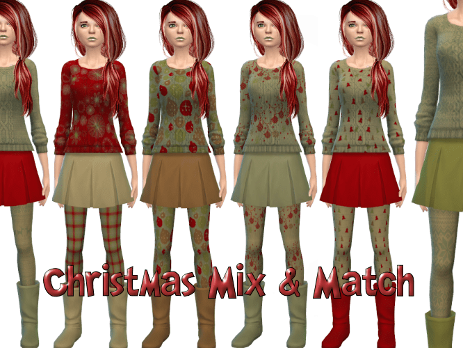 Christmas Mix & Match 7 patterns – Sweaters, Skirts, Boots, Socks