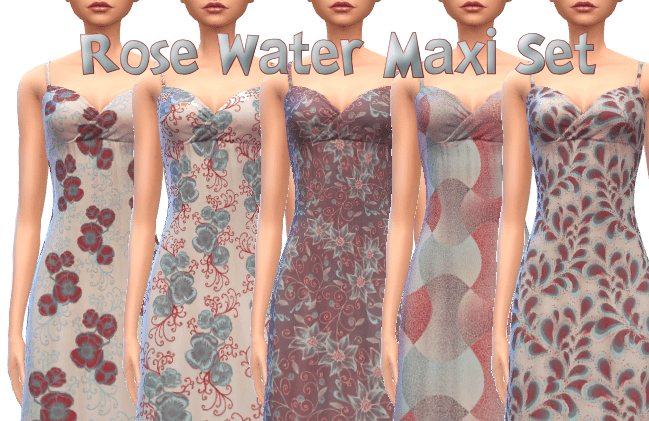Rose Water Maxi Dress Set 10 Patterns